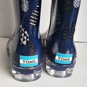 Toms Shoes - Tome Blue Raindrop Print Rain Boots 7 Wide